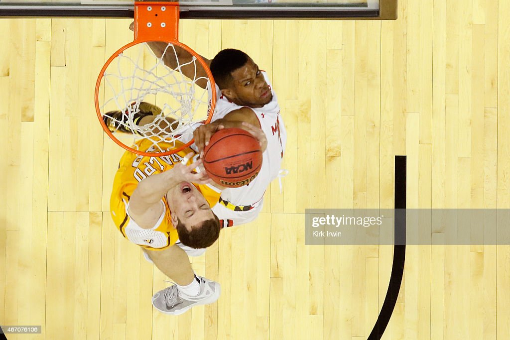 Jared Nickens #11 of the Maryland Terrapins jumps to block a shot by David Skara #10 of the Valparaiso Crusaders during the second round of the Men's NCAA Basketball Tournament at Nationwide Arena on March 20, 2015 in Columbus, Ohio.