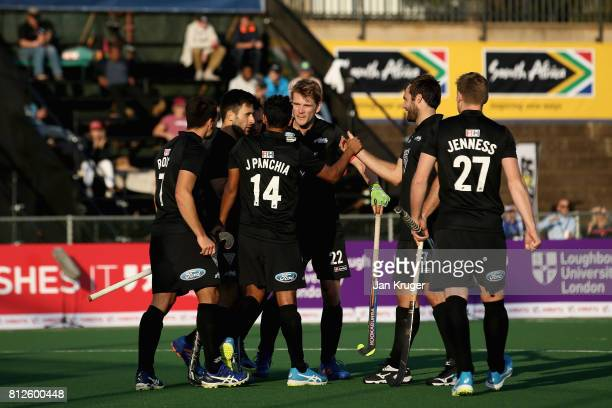 Jared Panchia of New Zealand celebrates scoring their teams first goal with teammates during day 2 of the FIH Hockey World League Semi Finals Pool A...