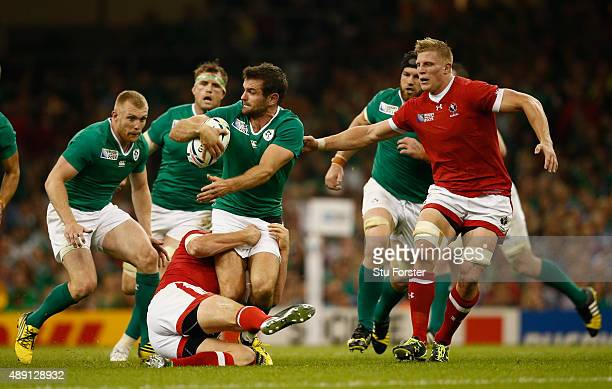 Jared Payne of Ireland in action during the 2015 Rugby World Cup Pool D match between Ireland and Canada at Millennium Stadium on September 19 2015...
