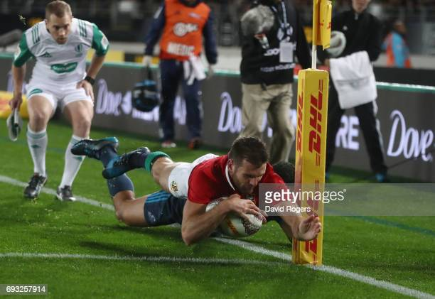 Jared Payne of the British Irish Lions dives over but the try is disallowed by the video referee during the 2017 British Irish Lions tour match...
