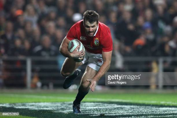 Jared Payne of the Lions goes over to score his team's third try during the 2017 British Irish Lions tour match between the Chiefs and the British...