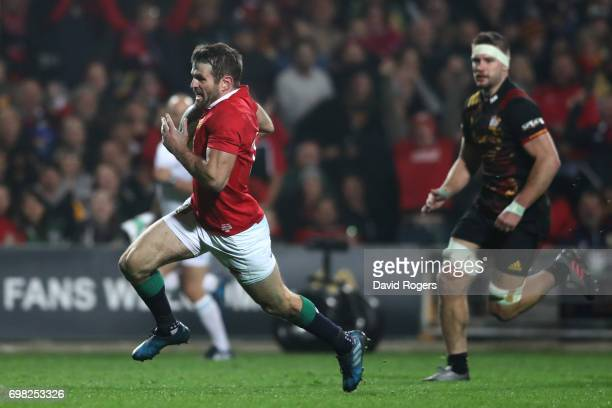Jared Payne of the Lions runs in his team's third try during the 2017 British Irish Lions tour match between the Chiefs and the British Irish Lions...