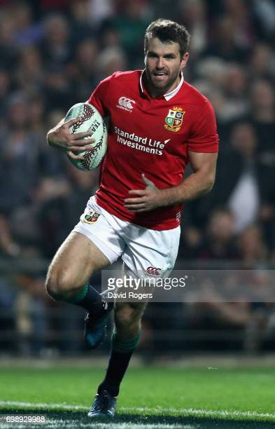 Jared Payne of the Lions runs with the ball during the match between the Chiefs and the British Irish Lions at Waikato Stadium on June 20 2017 in...