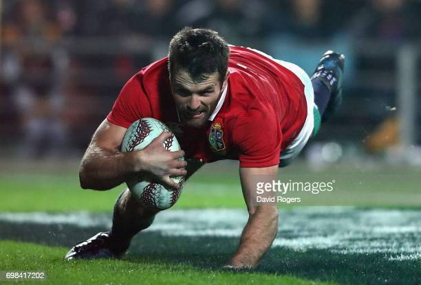 Jared Payne of the Lions scores a try during the match between the Chiefs and the British Irish Lions at Waikato Stadium on June 20 2017 in Hamilton...
