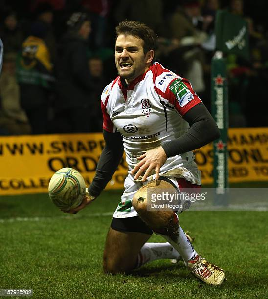 Jared Payne of Ulster celebrates after scoring a try during the Heineken Cup match between Northampton Saints and Ulster at Franklin's Gardens on...