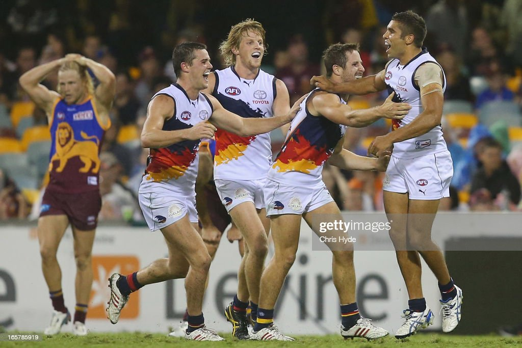 Jared Petrenko of the Crows celebrates after kicking a goal during the round two AFL match between the Brisbane Lions and the Adelaide Crows at The Gabba on April 6, 2013 in Brisbane, Australia.