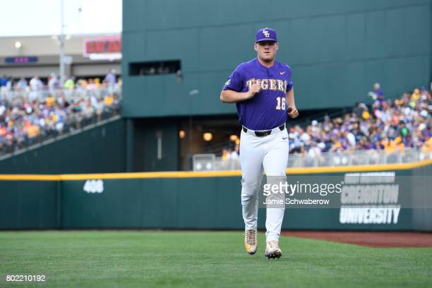 Jared Poche' of Louisiana State University runs across the field before his team takes on the University of Florida during the Division I Men's...