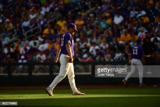 Jared Poche' of Louisiana State University walks across the field as his team takes on the University of Florida during the Division I Men's Baseball...
