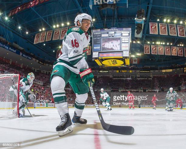 Jared Spurgeon of the Minnesota Wild follows the play against the Detroit Red Wings during an NHL game at Joe Louis Arena on March 26 2017 in Detroit...