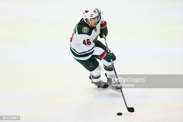 Jared Spurgeon of the Minnesota Wild in the third period at American Airlines Center on January 9 2016 in Dallas Texas