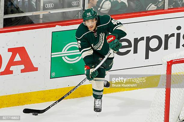 Jared Spurgeon of the Minnesota Wild passes the puck against the Dallas Stars in Game Six of the Western Conference First Round during the 2016 NHL...