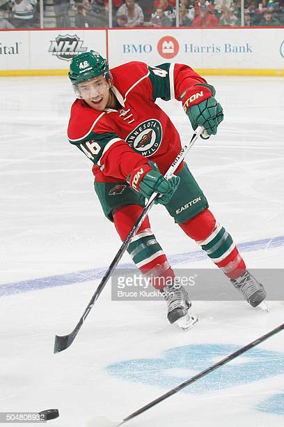 Jared Spurgeon of the Minnesota Wild passes the puck against the Philadelphia Flyers during the game on January 7 2016 at the Xcel Energy Center in...