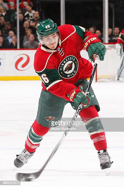 Jared Spurgeon of the Minnesota Wild shoots the puck against the Montreal Canadiens during the game on December 3 2014 at the Xcel Energy Center in...