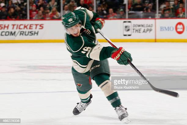 Jared Spurgeon of the Minnesota Wild shoots the puck against the Colorado Avalanche during the game on March 8 2015 at the Xcel Energy Center in St...