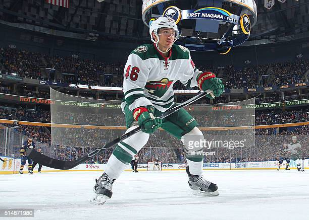 Jared Spurgeon of the Minnesota Wild skates against the Buffalo Sabres during an NHL game on March 5 2016 at the First Niagara Center in Buffalo New...