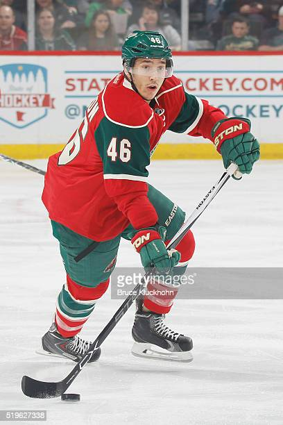 Jared Spurgeon of the Minnesota Wild skates with the puck against the Ottawa Senators during the game on March 31 2016 at the Xcel Energy Center in...