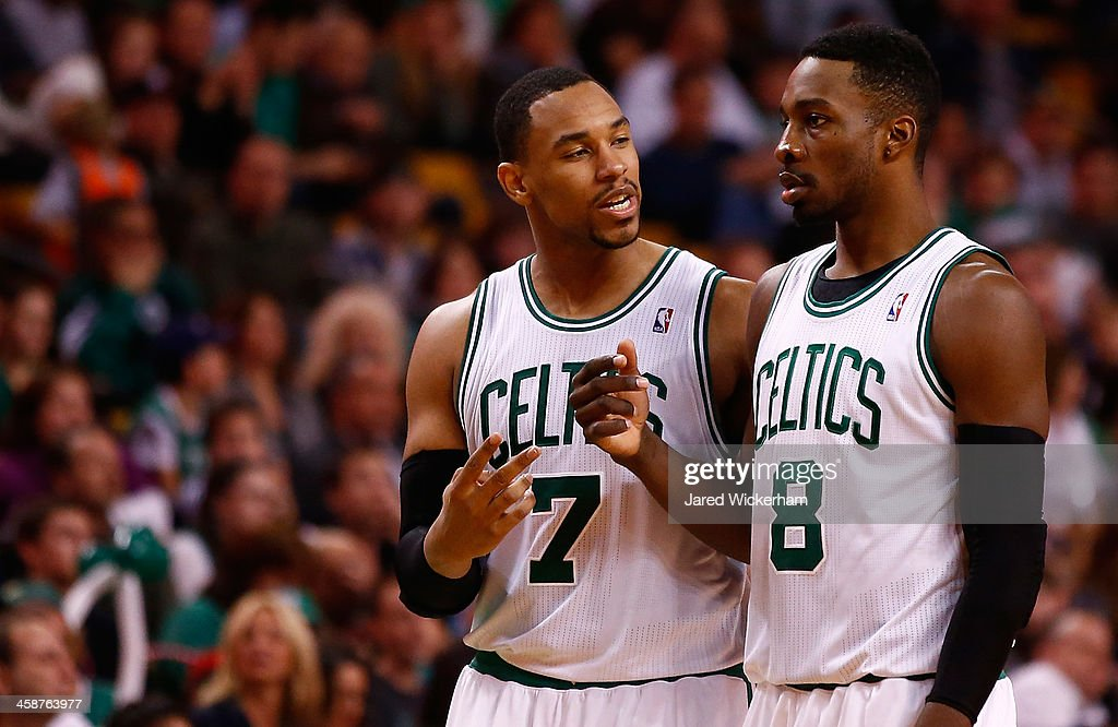 Jared Sullinger #7 and Jeff Green #8 of the Boston Celtics talk during a timeout in the second half against the Washington Wizardsduring the game at TD Garden on December 21, 2013 in Boston, Massachusetts.