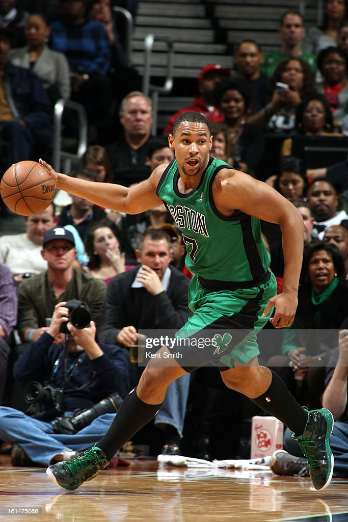 <a gi-track='captionPersonalityLinkClicked' href=/galleries/search?phrase=Jared+Sullinger&family=editorial&specificpeople=6866665 ng-click='$event.stopPropagation()'>Jared Sullinger</a> #7 of the Boston Celtic dribbles the ball up the court against the Atlanta Hawks at the Philips Arena on January 25, 2013 in Atlanta, Georgia.