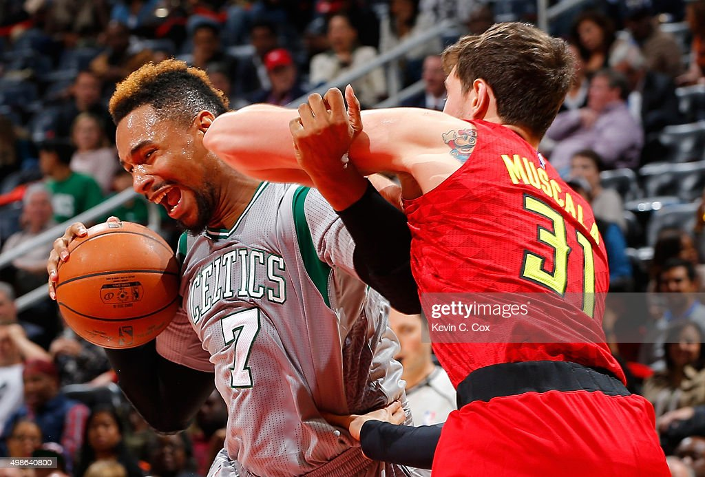 Jared Sullinger #7 of the Boston Celtics drives against Mike Muscala #31 of the Atlanta Hawks at Philips Arena on November 24, 2015 in Atlanta, Georgia. NOTE TO USER User expressly acknowledges and agrees that, by downloading and or using this photograph, user is consenting to the terms and conditions of the Getty Images License Agreement.