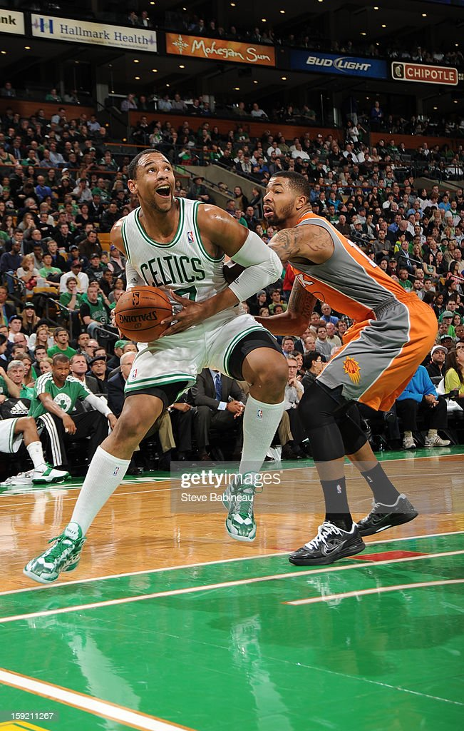 Jared Sullinger #7 of the Boston Celtics drives to the basket against the Phoenix Suns on January 9, 2013 at the TD Garden in Boston, Massachusetts.