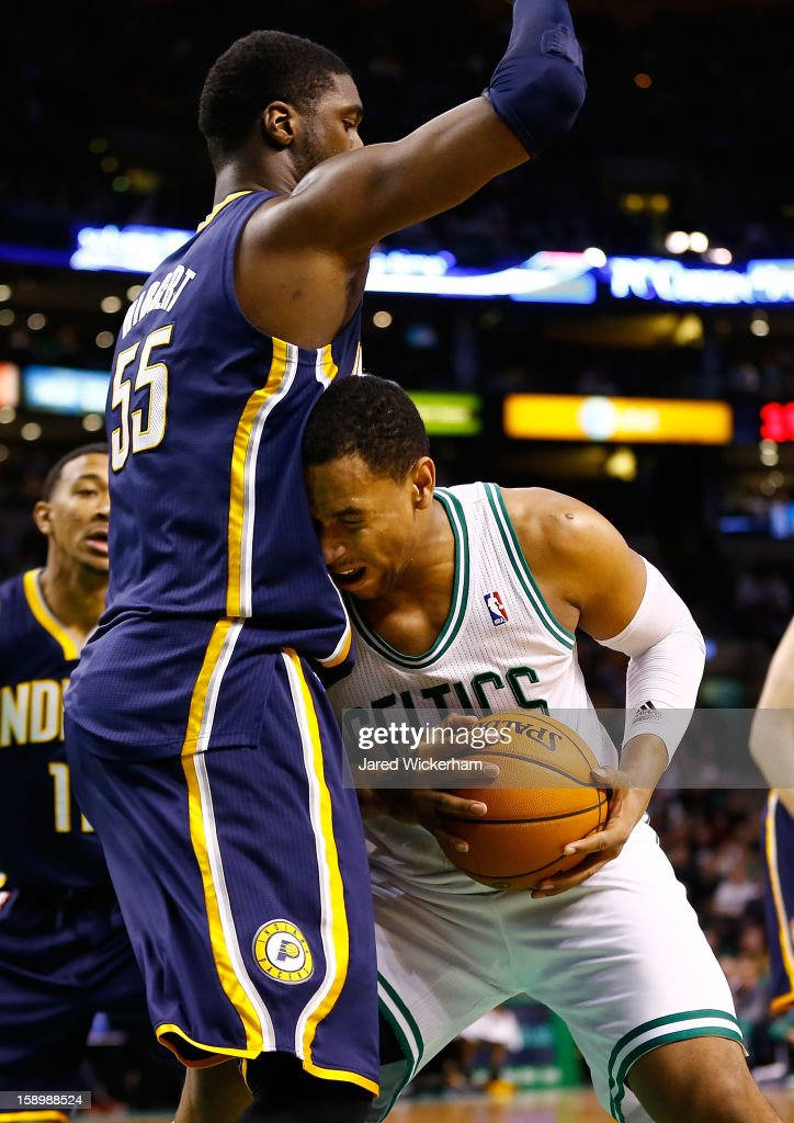 Jared Sullinger #7 of the Boston Celtics drives to the basket in front of Roy Hibbert #55 of the Indiana Pacers during the game on January 4, 2013 at TD Garden in Boston, Massachusetts.