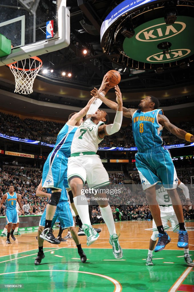 Jared Sullinger #7 of the Boston Celtics goes to the basket during the game between the Boston Celtics and the New Orleans Hornets on January 16, 2013 at the TD Garden in Boston, Massachusetts.