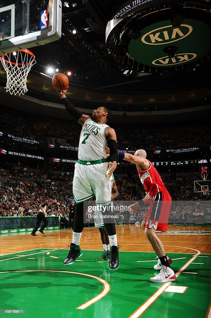 Jared Sullinger #7 of the Boston Celtics grabs a rebound against the Washington Wizards on December 21, 2013 at the TD Garden in Boston, Massachusetts.