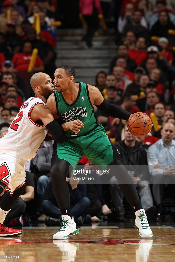 <a gi-track='captionPersonalityLinkClicked' href=/galleries/search?phrase=Jared+Sullinger&family=editorial&specificpeople=6866665 ng-click='$event.stopPropagation()'>Jared Sullinger</a> #7 of the Boston Celtics handles the ball against the Chicago Bulls on March 31, 2014 at the United Center in Chicago, Illinois.