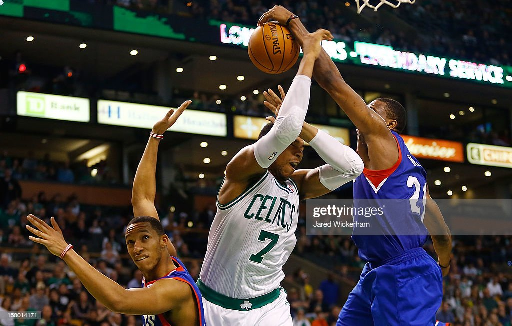 <a gi-track='captionPersonalityLinkClicked' href=/galleries/search?phrase=Jared+Sullinger&family=editorial&specificpeople=6866665 ng-click='$event.stopPropagation()'>Jared Sullinger</a> #7 of the Boston Celtics has his shot blocked by <a gi-track='captionPersonalityLinkClicked' href=/galleries/search?phrase=Jason+Richardson+-+Basketballspieler+-+Jahrgang+1981&family=editorial&specificpeople=201558 ng-click='$event.stopPropagation()'>Jason Richardson</a> #23 of the Philadelphia 76ers during the game on December 8, 2012 at TD Garden in Boston, Massachusetts.