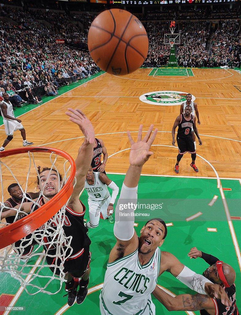 Jared Sullinger #7 of the Boston Celtics jumps up for the ball against the Chicago Bulls on January 18, 2013 at the TD Garden in Boston, Massachusetts.