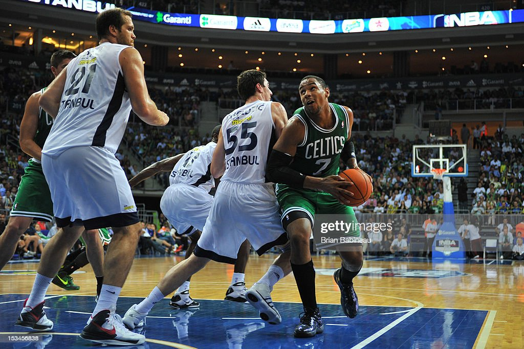 <a gi-track='captionPersonalityLinkClicked' href=/galleries/search?phrase=Jared+Sullinger&family=editorial&specificpeople=6866665 ng-click='$event.stopPropagation()'>Jared Sullinger</a> #7 of the Boston Celtics looks to shoot against Emir Preldzic #55 of Fenerbahce Ulker on October 5, 2012 at the Ulker Sports Arena in Istanbul, Turkey.