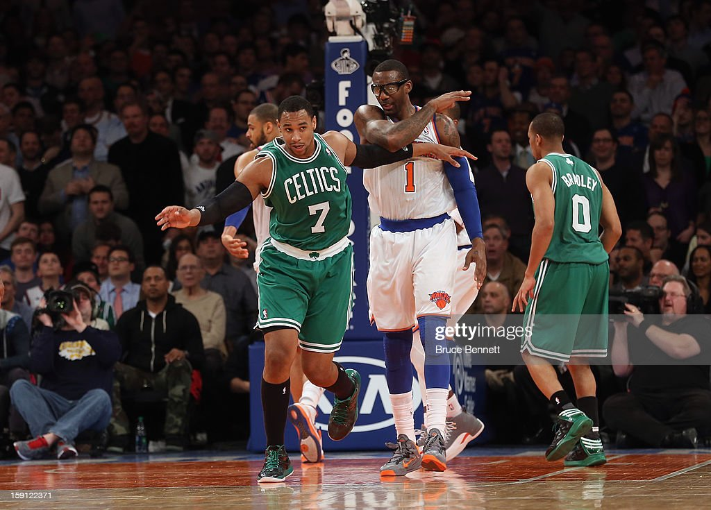 Jared Sullinger #7 of the Boston Celtics plays against the New York Knicks at Madison Square Garden on January 7, 2013 in New York City.