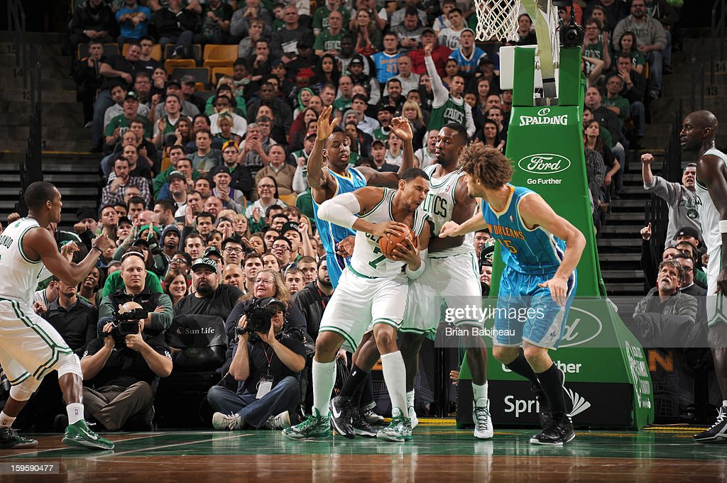 <a gi-track='captionPersonalityLinkClicked' href=/galleries/search?phrase=Jared+Sullinger&family=editorial&specificpeople=6866665 ng-click='$event.stopPropagation()'>Jared Sullinger</a> #7 of the Boston Celtics protects the ball during the game between the Boston Celtics and the New Orleans Hornets on January 16, 2013 at the TD Garden in Boston, Massachusetts.