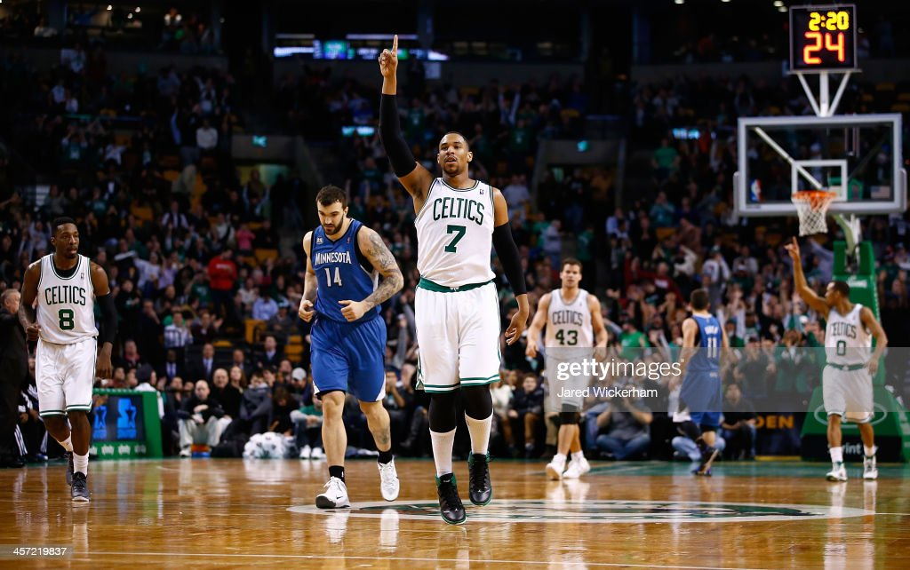 Jared Sullinger #7 of the Boston Celtics reacts following a made three-point shot late in the fourth quarter against the Minnesota Timberwolves during the game at TD Garden on December 16, 2013 in Boston, Massachusetts.