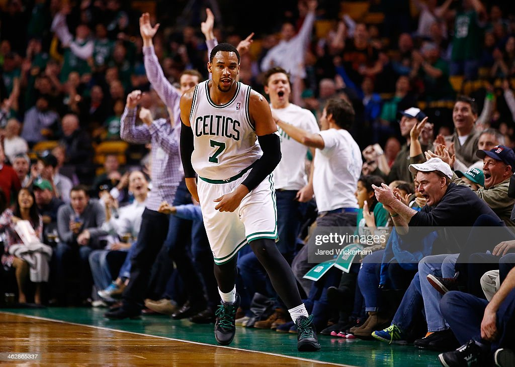 Jared Sullinger #7 of the Boston Celtics reacts following a three point shot to end the third quarter against the Toronto Raptors during the game at TD Garden on January 15, 2014 in Boston, Massachusetts.