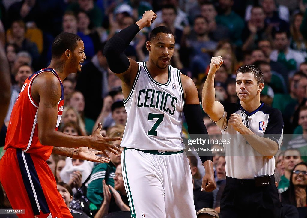 Jared Sullinger #7 of the Boston Celtics reacts to a foul call in the second half against the Washington Wizards during the game at TD Garden on December 21, 2013 in Boston, Massachusetts.