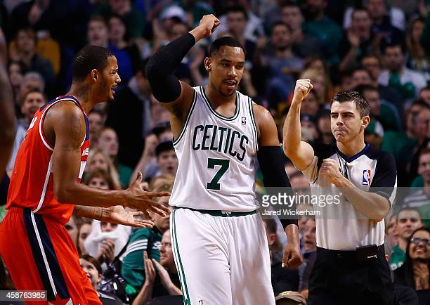 Jared Sullinger of the Boston Celtics reacts to a foul call in the second half against the Washington Wizards during the game at TD Garden on...