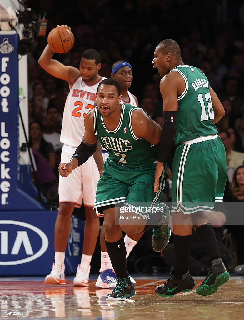 Jared Sullinger #7 of the Boston Celtics runs back to the bench after scoring two at the third quarter buzzer against the New York Knicks at Madison Square Garden on January 7, 2013 in New York City.
