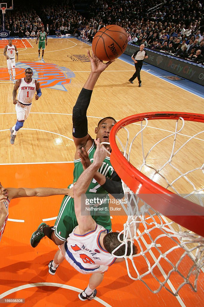 Jared Sullinger #7 of the Boston Celtics shoots against Steve Novak #16 of the New York Knicks on January 7, 2013 at Madison Square Garden in New York City.