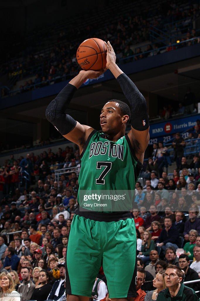 Jared Sullinger #7 of the Boston Celtics shoots against the Milwaukee Bucks on December 1, 2012 at the BMO Harris Bradley Center in Milwaukee, Wisconsin.