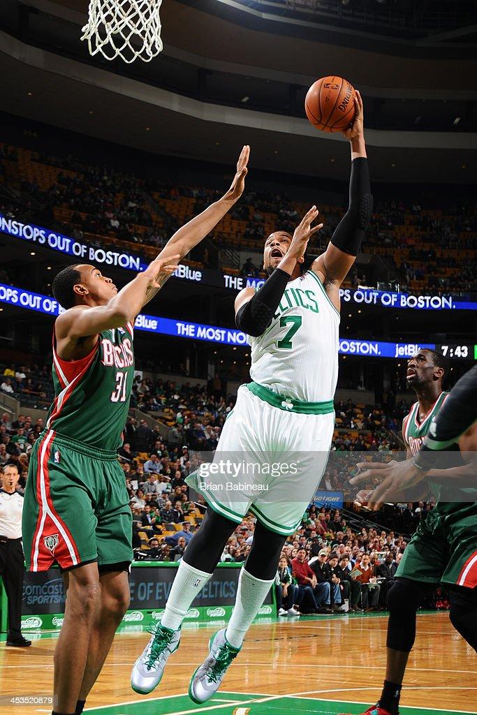 Jared Sullinger #7 of the Boston Celtics shoots against the Milwaukee Bucks on December 3, 2013 at the TD Garden in Boston, Massachusetts.