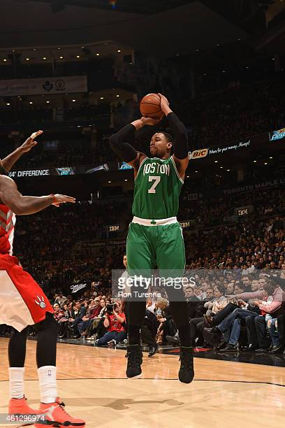 Jared Sullinger of the Boston Celtics shoots against the Toronto Raptors on January 10 2015 at the Air Canada Centre in Toronto Ontario Canada NOTE...