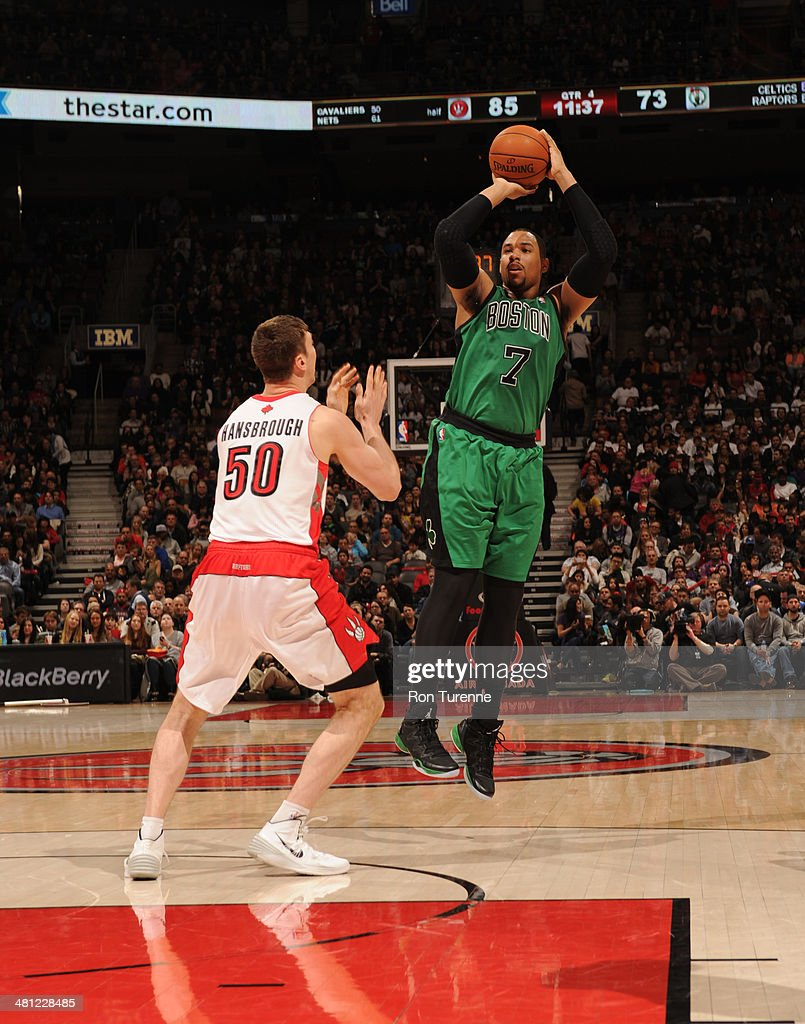 <a gi-track='captionPersonalityLinkClicked' href=/galleries/search?phrase=Jared+Sullinger&family=editorial&specificpeople=6866665 ng-click='$event.stopPropagation()'>Jared Sullinger</a> #7 of the Boston Celtics shoots against the Toronto Raptors on March 28, 2014 at the Air Canada Centre in Toronto, Ontario, Canada.