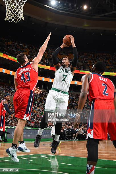 Jared Sullinger of the Boston Celtics shoots the ball against the Washington Wizards on November 6 2015 at the TD Garden in Boston Massachusetts NOTE...