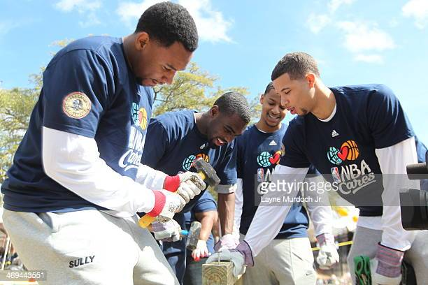 Jared Sullinger of the Boston Celtics Tim Hardaway Jr of the New York Knicks Trey Burke of the Utah Jazz and Michael CarterWilliams of the...