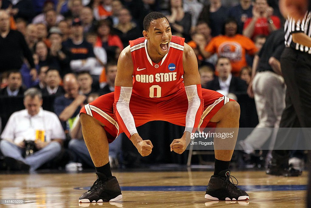 Jared Sullinger #0 of the Ohio State Buckeyes reacts after a play against the Syracuse Orange during the 2012 NCAA Men's Basketball East Regional Final at TD Garden on March 24, 2012 in Boston, Massachusetts.