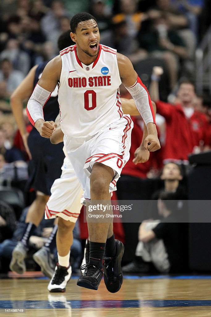 <a gi-track='captionPersonalityLinkClicked' href=/galleries/search?phrase=Jared+Sullinger&family=editorial&specificpeople=6866665 ng-click='$event.stopPropagation()'>Jared Sullinger</a> #0 of the Ohio State Buckeyes reacts late in the second half against the Gonzaga Bulldogs during the third round of the 2012 NCAA Men's Basketball Tournament at Consol Energy Center on March 17, 2012 in Pittsburgh, Pennsylvania.