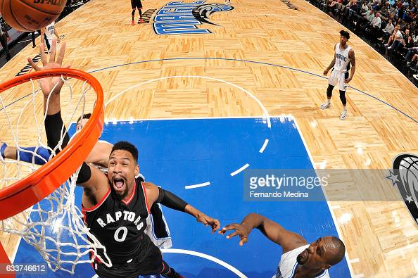 Jared Sullinger of the Toronto Raptors shoots the ball during the game against the Orlando Magic on February 3 2017 at Amway Center in Orlando...