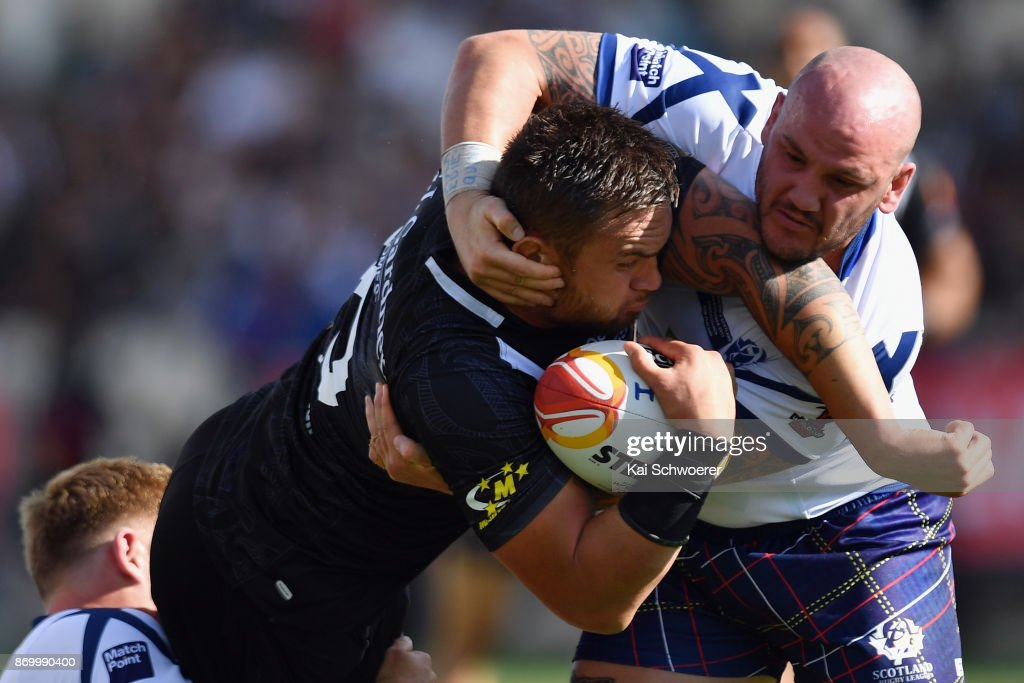 Jared Waerea-Hargreaves of the Kiwis is tackled by Dale Ferguson of Scotland during the 2017 Rugby League World Cup match between the New Zealand Kiwis and Scotland at AMI Stadium on November 4, 2017 in Christchurch, New Zealand.