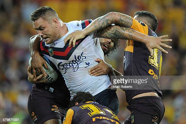 Jared WaereaHargreaves of the Roosters is tackled during the round three NRL match between the Brisbane Broncos and the Sydney Roosters at Suncorp...